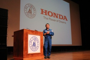 Dr. Koichi Wakata giving his presentation: How he became an astronaut and videos of his time in space.